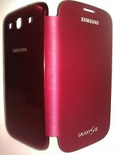Samsung Galaxy S3 Protective Flip Cover Folio Case - Dark Red