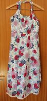 TU Floral Dress Strappy Summer Roses Red Blue Lace 100% Cotton UK 10