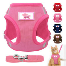 Reflective Dog Cat Harness and Leash set Mesh Walking Escape Proof Boy Girl Vest