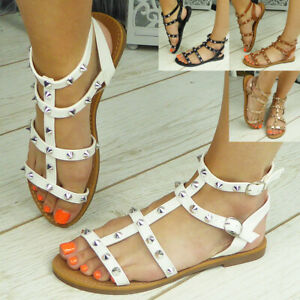 Gladiator Sandals Ladies Shoes Flats Open Toe Strappy Summer Comfy Womens Size