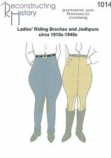 Patrones de corte Rh 1014 1910s to 1940s Ladies 'Riding breeches and jodhpurs
