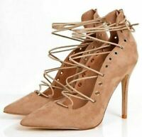 Women Lace Up Stilettos High Heels Shoes Pointed Toe Ankle Strappy Sandals UK 3