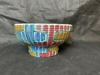 Vintage Colourful Abstract Design Bowl Made In Verona Italy