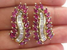 Natural Ruby & Diamond Long Leaf Earrings 14Kt Yellow Gold 8.60Ct