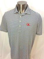 RLX Ralph Lauren Blue Striped Polo Style Short Sleeve Golf Shirt Size Large