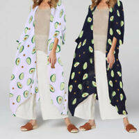Women Summer Plus Size 3/4 Sleeve Printed Top Tee T Shirt Kimono Cover Up Blouse