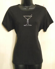 Club Party T Shirt Martini Olive Graphic Anvil Knitwerck Black Knit Top XL