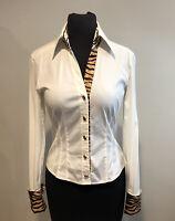 Escada Vintage cotton Ivory Blouse with Animal Print Trim Shirt Top sz 36/6 US