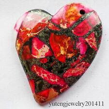 Beautiful Peachblow Sea Sediment Jasper & Pyrite Heart Pendant Bead D0075155