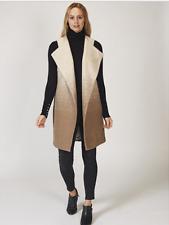 MarlaWynne Stipple Ombre Wool Mix Vest/Gilet/Sleeveless Jacket Size Small Latte