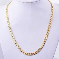 "Mens Long Yellow Gold Plated Cuban Llink Necklace hip hop Chain 24-26"" 7mm Wide"