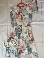 Thought Size 10 floral high neck modest fit flare party summer holiday dress VGC