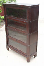 Barrister Bookcase 4 Stack   Vintage Antique Cabinet With Beveled Glass  Doors