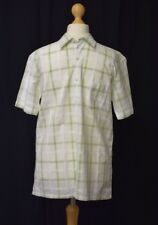 Mens Medium Linea White with Green Checked Short Sleeve Summer Shirt
