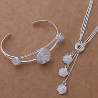 Rose Necklace and Bracelet Set 925 Sterling Silver NEW