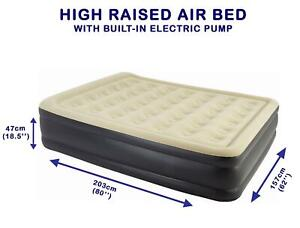 High Raised Air Bed Built In Electric Pump Flocked Queen Size Outdoor Camping