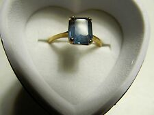 NOW 20% OFF-BLUE 18k Yellow HGE Heavy Gold Electroplate Ring - Sz 6.75-REDUCED!!