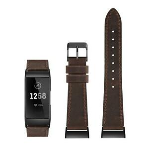 """Leather Band For Fitbit Charge 2 Retro Brown Leather Blk Buckle Sz LG 6.4""""-8.3"""""""