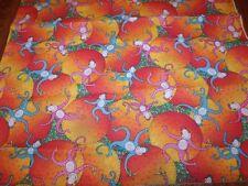 Unusual Colorful Pink & Turquoise MONKEYS Orange Suns Cotton Fabric 1 1/2 Yards