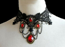 GORGEOUS BLACK LACE BURLESQUE MOULIN ROUGE GOTHIC CHOKER WITH RED STONES