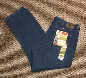 NWT Men's Wrangler Jeans 42 x 30 Regular Fit Straight Leg - Solid Blue Denim