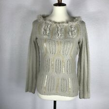 Mac & Jac Women Sz M Sweater Pullover Beige Boat Neck Faux Fur Sequin