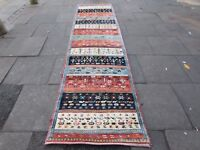 Old Traditional Hand Made Vintage Gabbe Oriental Wool Blue Long Runner 373x94m