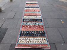 Old Traditional Hand Made Persian Gabbeh Oriental Wool Blue Long Runner 373x94m