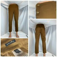 Massimo Dutti Pants Sz 8 Brown Cotton Lycra Gold Buttons Portugal YGI A0-744