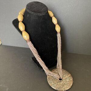 Vintage Antler Seed Bead Nautural Stone Disc Circle Pendant Necklace Eye Jasper