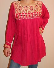 Pink Hand Made Chiapas Mexican Blouse Mayan Back Strap Loom 100% Cotton Small