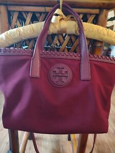 TORY BURCH Nylon Marion Burgandy Tote Leather Whipstitch Trim and Handles