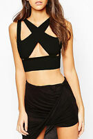 Womens Black Bodycon* Fit Strappy Cut Out Crop Party Bralet Top 6-12