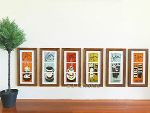 6PCS Ceramic Wood Frame Wall Hanging Art Picture Coffee Shop Food Kitchen20*40cm