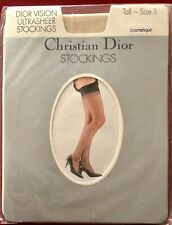 Vintage Christian Dior Ultra Sheer Vision Nylon Stockings Size 3 Tall Cosmetique