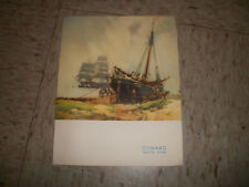 RMS QUEEN MARY 1950 VOYAGE MENU CUNARD LINE Sail boat Painting cover
