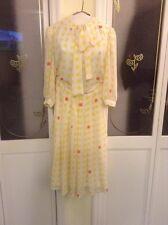 """Yves Saint Laurent Paris"" Vintage Yellow Checkered Sheer Silk Skirt Set Sz 8"