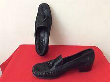 Stuart Weitzman BLACK Shiney Leather Heel Loafers  9.5 M Shoes Women's (b22)