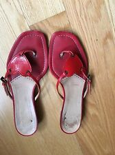 Moschino Cheap and Chic Red Leather Sandals sz 7 B Flip Flops