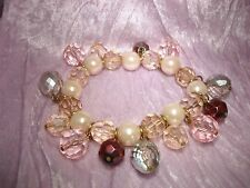 Faux Pearl Stretchy Bracelet! Wow! Felicia Pink Crystal Ab Cranberry