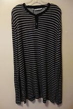 Travis Mathew Black & White Stripe Henley Sweater Size XXL w/ Tag