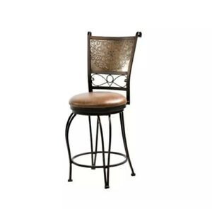 Powell Bronze w/Muted Copper Stamped Back Counter Stool, 24 Seat Height 222-918