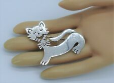 Solid Sterling Silver Taxco Mexico .925 Large expressive Cat Pin brooch Vintage