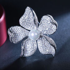 Bridal Jewelry Micro Pave CZ Domed Mother of Pearl Orchid Flower Brooches Silver