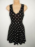 WOMENS BOOHOO UK 12 US 8 BLACK WHITE SPOT POLKA DOT SLEEVELESS FIT & FLARE DRESS