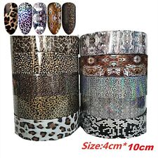 10 Nail Foils Mixed Leopard Nail Art Transfer Foil Wraps Decal Glitter Stickers