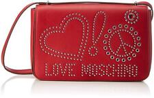 NEWT AUTH LOVE MOSCHINO BEAUTIFUL RED ECO LEATHER W STUDS  SHOULDER BAG
