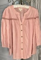 NEW Plus Size 1X Peach Blush Pink Peasant Blouse Button Top Crochet Shirt