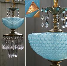 Vintage Lamp ceiling chandelier MURANO Venetian Blue Opaline Bubble Glass brass
