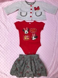 Disney Minnie Mouse Baby Girl outfit skirt set size 3-6 months